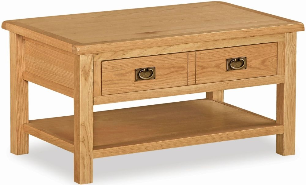 Global Home Salisbury Lite Oak 2 Drawer Storage Coffee Table
