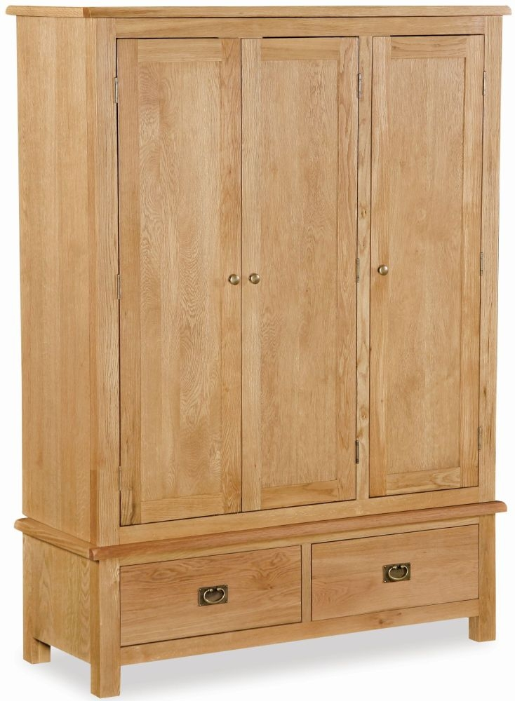 Global Home Salisbury Lite Oak 3 Door 2 Drawer Triple Wardrobe