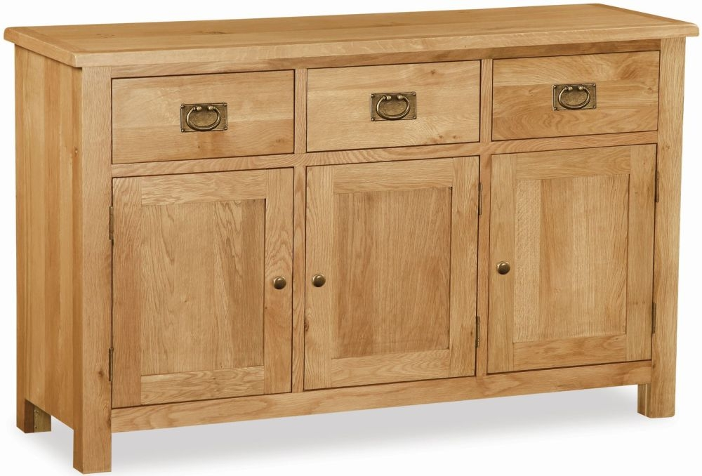Global Home Salisbury Lite Oak 3 Door 3 Drawer Wide Sideboard