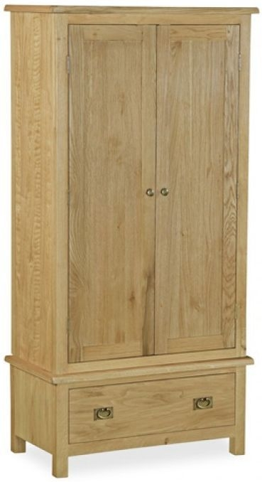 Global Home Salisbury Lite Oak Gents Double Wardrobe - 2 Door 1 Drawer