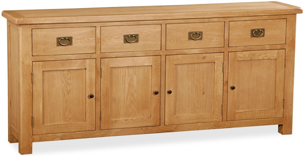 Global Home Salisbury Oak 4 Door 4 Drawer Wide Sideboard