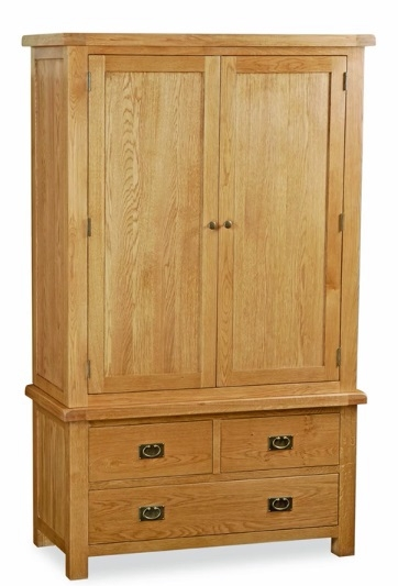 Global Home Salisbury Oak Wardrobe - Gents with 3 Drawer