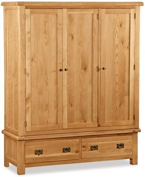 Global Home Salisbury Oak Triple Wardrobe - 3 Door 2 Drawer