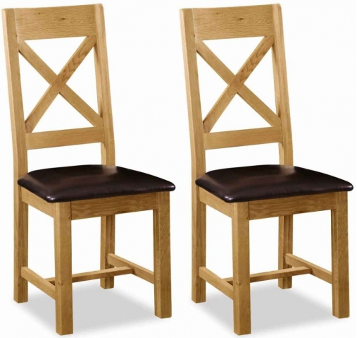 Global Home Salisbury Oak Cross Back Dining Chair with Faux Leather Seat (Pair)