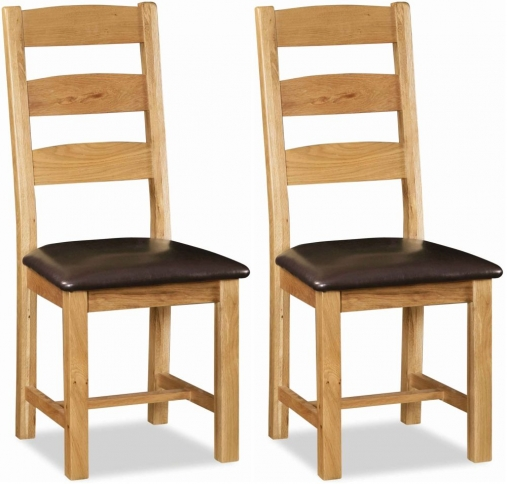 Global Home Salisbury Oak Ladder Back Dining Chair with Faux Leather Seat (Pair)