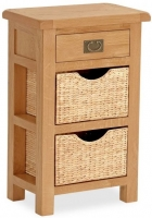 Global Home Salisbury Oak 1 Drawer 2 Baskets Telephone Table