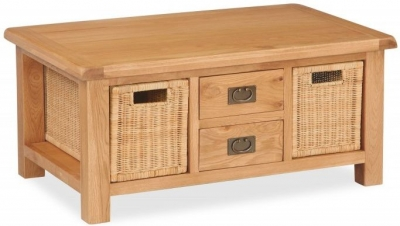 Salisbury Oak Large Coffee Table with Baskets