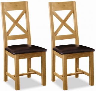 Global Home Salisbury Oak Dining Chair - Cross Back with Faux Leather Seat (Pair)