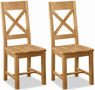 Global Home Salisbury Oak Dining Chair - Cross Back with Wooden Seat (Pair)