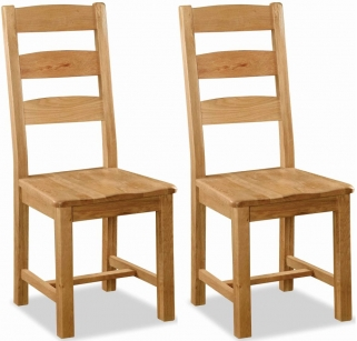 Global Home Salisbury Oak Dining Chair - Slatted with Wooden Seat (Pair)
