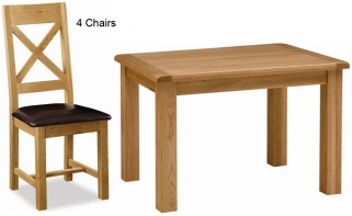 Global Home Salisbury Oak Dining Set - 120cm Fixed with 4 Faux Leather Seat Cross Back Chairs