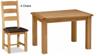 Global Home Salisbury Oak Dining Set - 120cm Fixed with 4 Faux Leather Seat Slatted Chairs