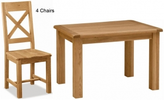 Global Home Salisbury Oak Dining Set - 120cm Rectangular Fixed Top with 4 Wooden Seat Cross Back Chairs