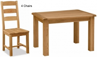 Global Home Salisbury Oak Dining Set - 120cm Fixed with 4 Wooden Seat Slatted Chairs