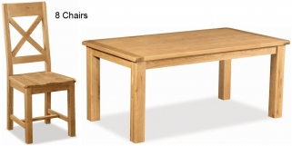 Global Home Salisbury Oak Dining Set - 180cm Fixed with 8 Wooden Seat Cross Back Chairs
