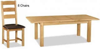Global Home Salisbury Oak Dining Set - Large Extending with 8 Faux Leather Seat Slatted Chairs