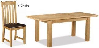 Global Home Salisbury Oak Dining Set - Small Extending with 6 Faux Leather Seat Chairs