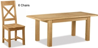 Global Home Salisbury Oak Dining Set - Small Extending with 6 Wooden Seat Cross Back Chairs