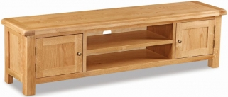 Global Home Salisbury Oak TV Unit - Large Low Line 2 Door