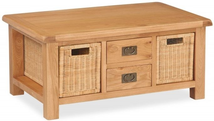 Global Home Salisbury Oak 2 Drawer 2 Baskets Storage Coffee Table