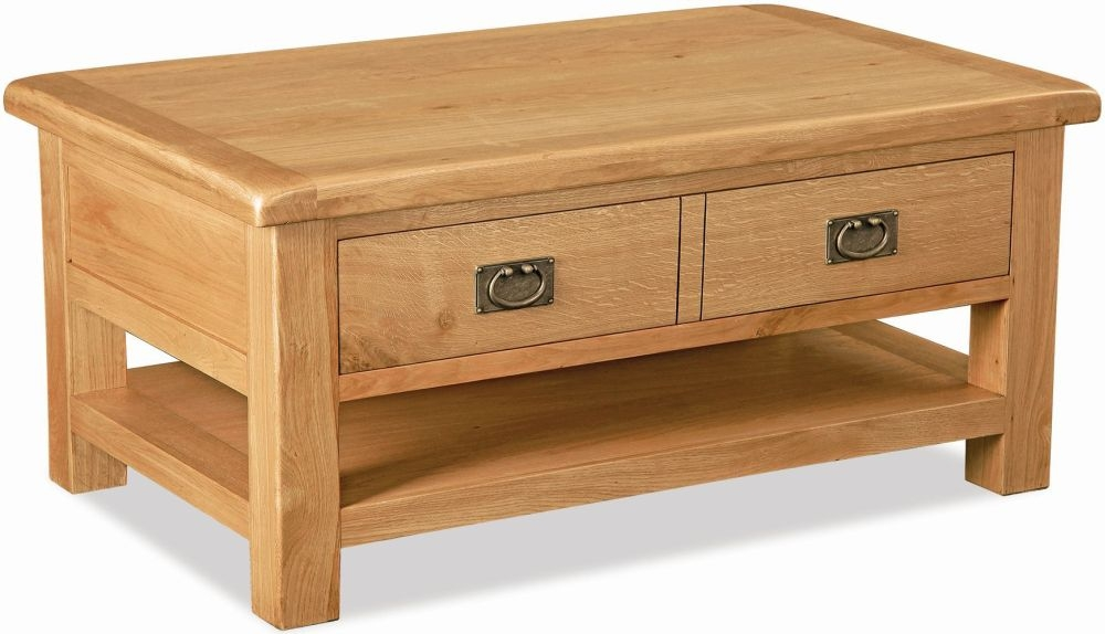 Global Home Salisbury Oak 2 Drawer and Shelf Storage Coffee Table