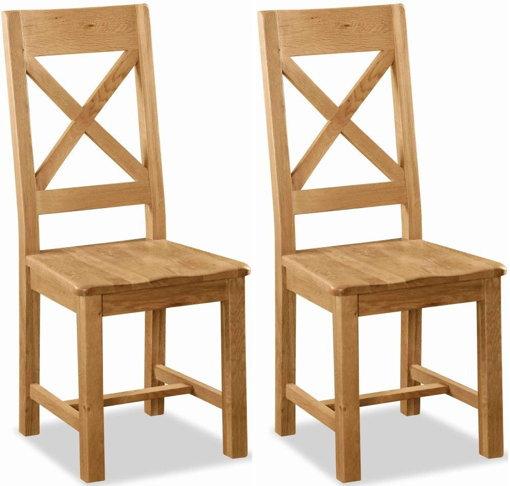 wooden chair. Global Home Salisbury Oak Dining Chair - Cross Back With Wooden Seat (Pair)