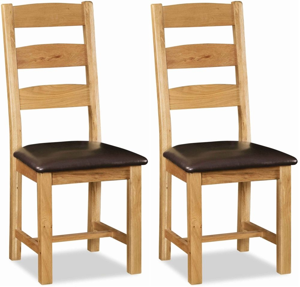 Global Home Salisbury Oak Dining Chair - Slatted with Faux Leather Seat (Pair)