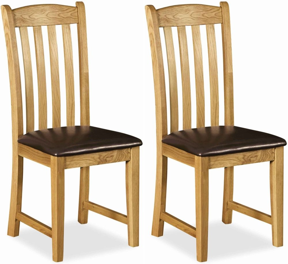 Global Home Salisbury Oak Dining Chair with Faux Leather Seat (Pair)