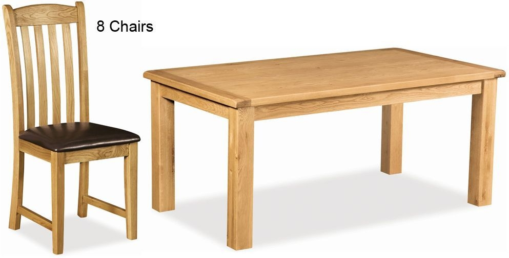 Global Home Salisbury Oak Dining Set - 180cm Rectangular Fixed Top with 8 Faux Leather Seat Chairs