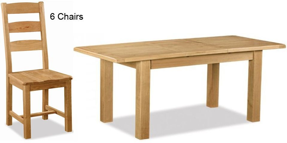 Global Home Salisbury Oak Dining Set - Small Extending with 6 Wooden Seat Slatted Chairs