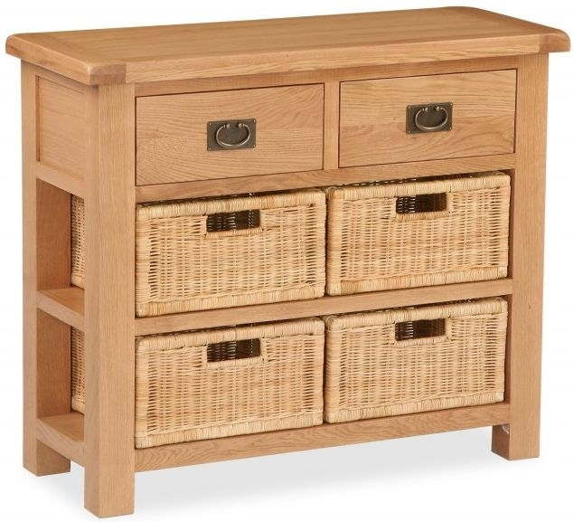 Global Home Salisbury Oak 2 Drawer 4 Baskets Narrow Sideboard