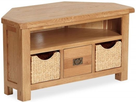 Global Home Salisbury Oak Corner TV Unit with Baskets