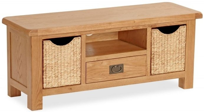 Global Home Salisbury Oak TV Unit with Basket