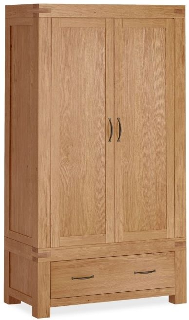 Global Home Sherwood Rustic Oak 2 Door 1 Drawer Wardrobe