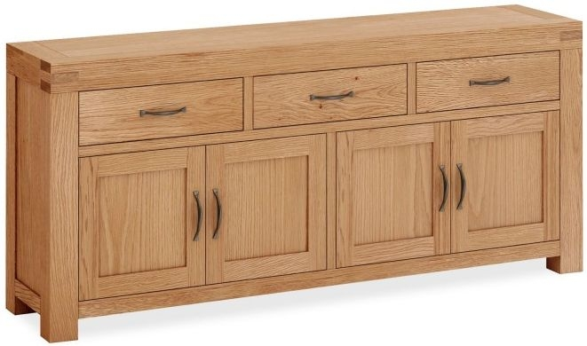 Global Home Sherwood Oak 4 Door 3 Drawer Wide Sideboard