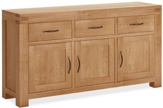 Global Home Sherwood Oak Sideboard - Large Medium 3 Door 3 Drawer