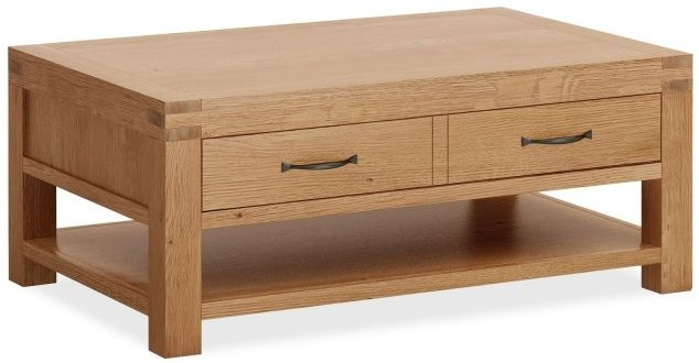Global Home Sherwood Oak 2 Drawer Storage Coffee Table