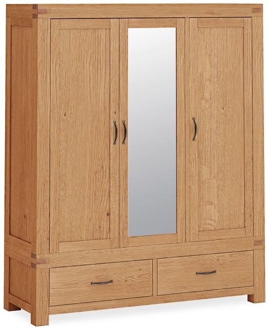 Global Home Sherwood Rustic Oak 3 Door Combi Wardrobe