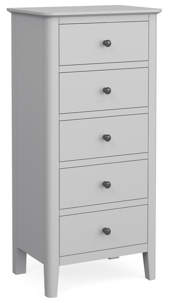 Global Home Stowe Grey Painted 5 Drawer Tallboy Chest