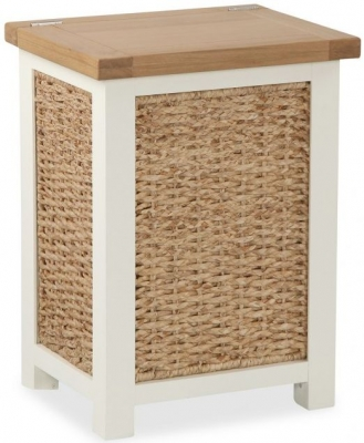 Global Home Suffolk Oak and Buttermilk Painted Laundry Basket