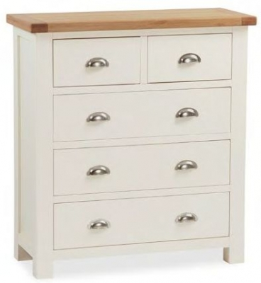 Global Home Suffolk Oak and Buttermilk Painted 3+2 Drawer Chest