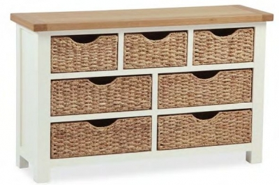 Global Home Suffolk Oak and Buttermilk Painted 4+3 Basket Drawer Chest