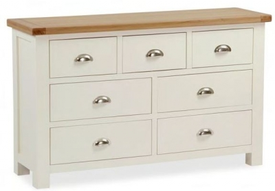 Global Home Suffolk Oak and Buttermilk Painted 4+3 Drawer Chest