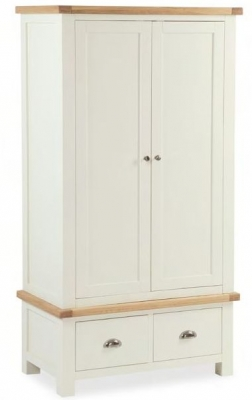 Global Home Suffolk Oak and Buttermilk Painted 2 Door 2 Drawer Wardrobe