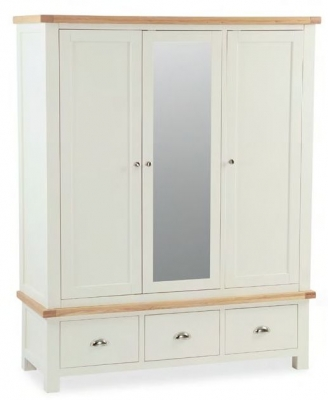 Global Home Suffolk Oak and Buttermilk Painted 3 Door 3 Drawer Wardrobe
