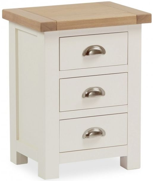 Global Home Suffolk Oak and Buttermilk Painted Bedside Cabinet