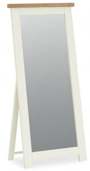 Global Home Suffolk Oak and Buttermilk Painted Cheval Mirror - 71cm x 169cm