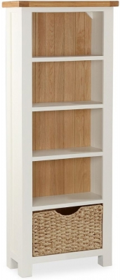 Global Home Suffolk Oak and Buttermilk Painted Slim Bookcase