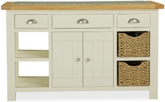 Global Home Suffolk Oak and Buttermilk Painted Kitchen Island
