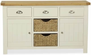 Global Home Suffolk Oak and Buttermilk Painted Large Sideboard with Baskets